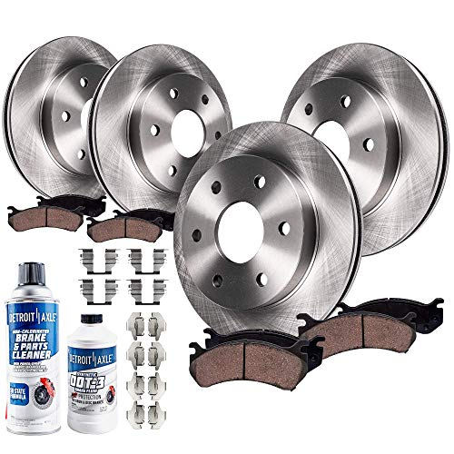 Detroit Axle - All (4) Front and Rear 6LUG Disc Brake Rotors w/Ceramic Pads w/Hardware & Brake Cleaner & Fluid for 2010 2011 Ford F-150 6 Lug -