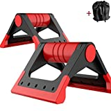 Beecomb Foldable Perfect Fitness Pushup Bar Stands Antiskid Handle With Comfortable Grip For Training Workout Crossfit (Red)