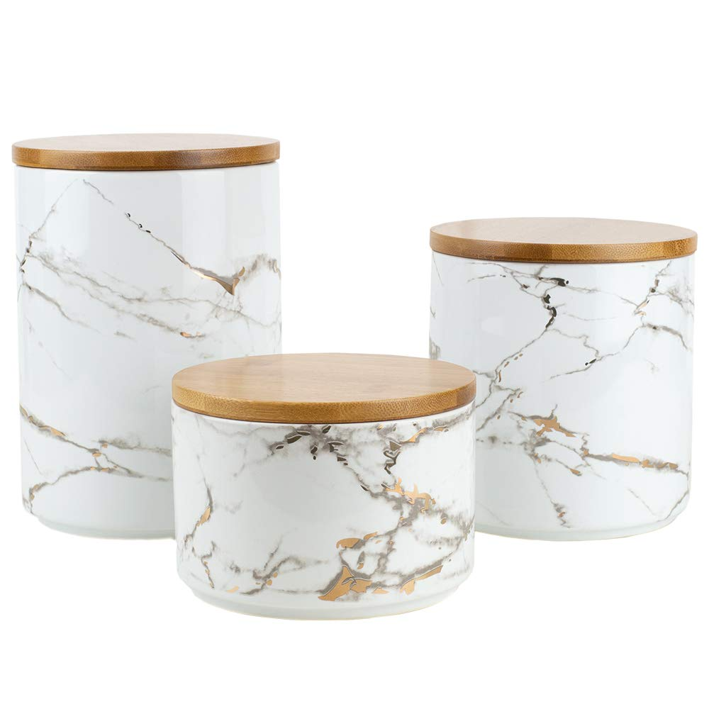 Home Basics Marble Ceramic Kitchen Food Storage Canister with Bamboo Lid (White) Airtight Seal for Sugar, Coffee, Salt, Herbs, Spices - Use as Crock, Stationary Holder or Flower Pot (Set of 3)