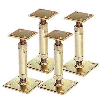4x Gah Pfostentrager Mit 2 Platten Gelb Verzinkt Aufdubelbar