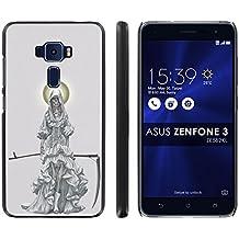 "Asus Zenfone 3 ZE552KL Back Cover [Mobiflare] [Black] Slim Clip-On Case [Screen Protector] - [Santa Muerte] for Asus [Zenfone 3] [ZE552KL] [5.5"" Screen]"