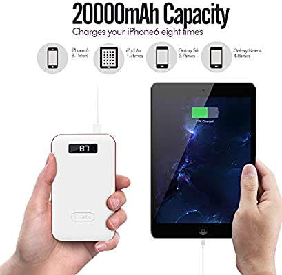 iMuto 20000mAh Portable Charger Compact Power Bank External Battery Pack  with LED Digital Display &Smart Charge, Li-Polymer Battery Banks for  iPhone,