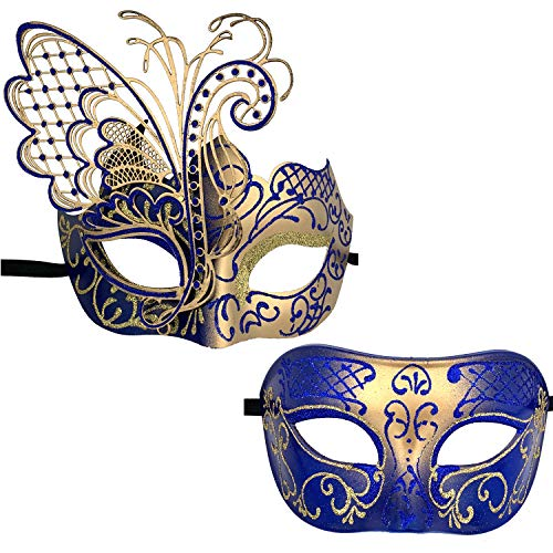 Xvevina Couples Pair Mardi Gras Venetian Masquerade Masks Set Party Costume Accessory (Blue Gold Couples) -