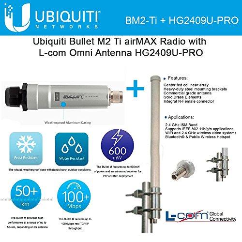 Ubiquiti Bullet M2 Ti airMAX Radio w/ L-com Omni Antenna HG2409U-PRO by Ubiquiti Networks (Image #1)