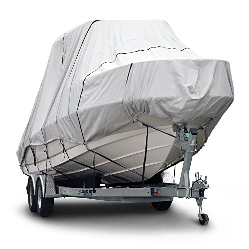 Budge 600 Denier Boat Cover fits Hard Top/T-Top Boats B-621-X8 (24' to 26' Long, Gray) (Best Waterproof Boat Cover)