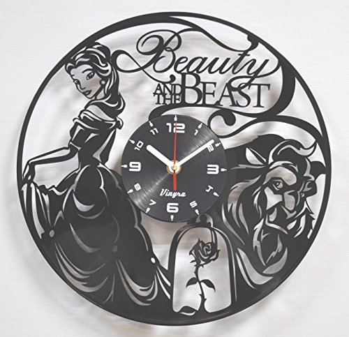 Mermaid Costume Broadway Little (Beauty And the Beast Vinyl Wall Clock Disney Vinyl Art Kids Room Decor Home Decorations Lovely Black Record Vinyl Clock Gift for Girls and Boys Vintage Wall Decoration Unique Art)