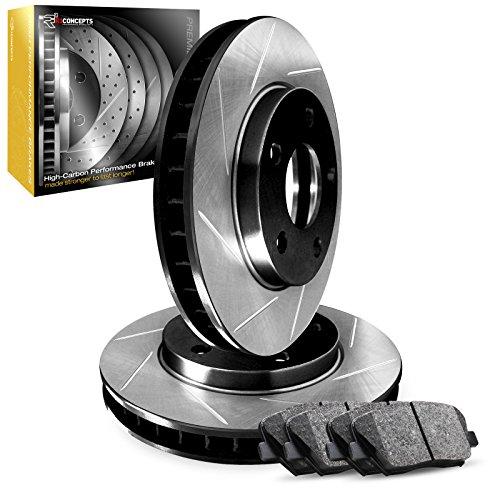 - Front Set R1 Carbon Geomet Slotted Brake Rotors + Ceramic Brake Pads
