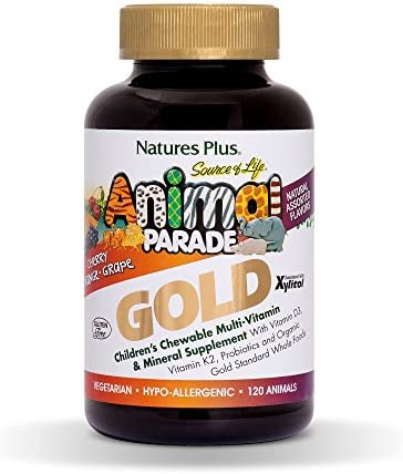 NaturesPlus Animal Parade Source of Life Gold Children's Multivitamin - Assorted Cherry, Orange & Grape Flavors - 120 Chewable Animal Shaped Tablets - Vegetarian, Gluten-Free - 60 Servings