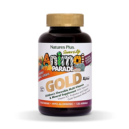 Natures Plus Animal Parade Source of Life GOLD Childrens Multivitamin - Assorted Cherry, Orange & Grape Flavors - 120 Chewable Animal Shaped Tablets - Organic Whole Foods, Gluten Free - 60 Servings ()