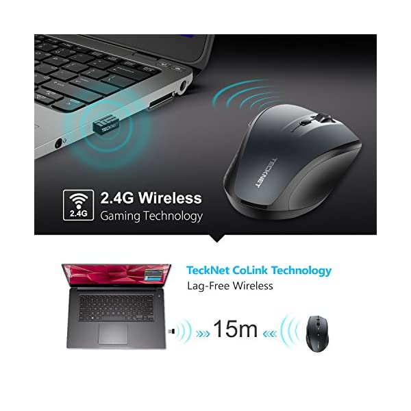 TeckNet Classic 2.4G Portable Optical Wireless Mouse with USB Nano Receiver for Notebook,PC,Laptop,Computer,6 Buttons,30…