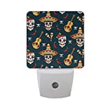 ALAZA Mexican Sugar Skull Chili Pepper LED Night Light Dusk to Dawn Sensor Plug in Night Home Decor Desk Lamp for Adult