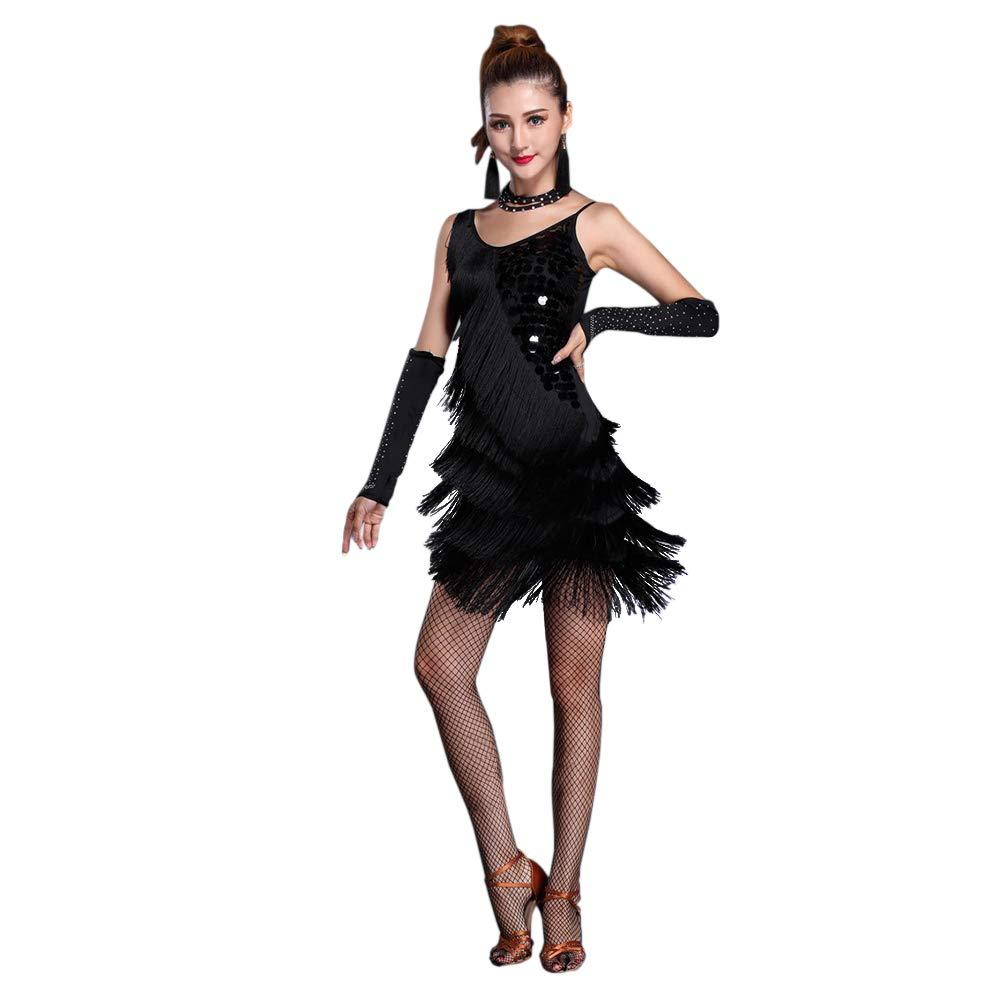 Black Tag L = UK EU US AUS S Xinvivion Women's Ballroom Salsa Samba Rumba Tango Dancing Practice Costume Tassel Sequins Latin Dance Dress