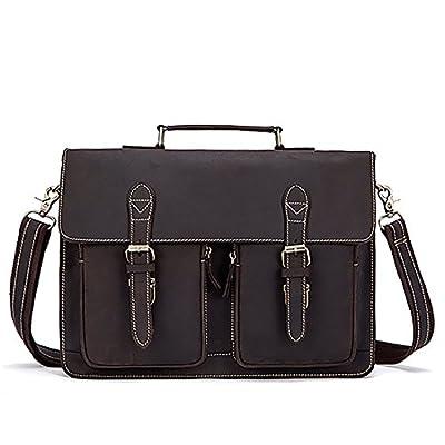 Men Briefcase Crazy Horse Genuine Leather Handbags Office Messenger Laptop Bag 60%OFF