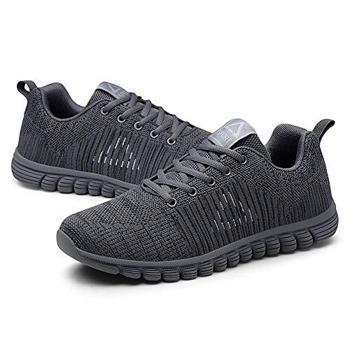 Extérieur Bleu Plat noir Talon Chaussures Course Sneakers Homme Pour gris blanc Pied Flying À automne Printemps De lacets Maille Gray 42 En Filet fTZOwq