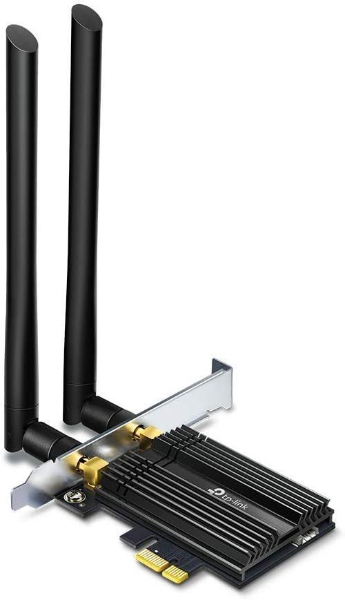 TP-Link Adaptador PCLe AX3000, Wi-Fi 6 con Bluetooth 5.0 (Dos Antenas multidireccionales, Intel Wi-Fi 6, disipador de Calor, estándar de cifrado WPA3, Ahorro de Espacio) Color Negro (Archer TX50E)