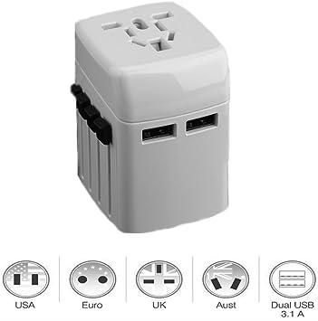 cfzc internacional adaptador de enchufe con doble USB puertos de ...