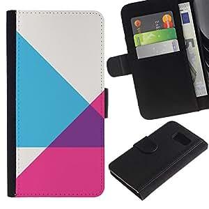 KingStore / Leather Etui en cuir / Samsung Galaxy S6 / Modelo púrpura gris abstracto rosado