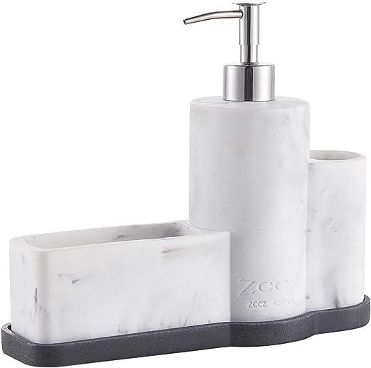 ZCCZ Soap Dispenser with Sponge Holder Brush Holder, Marble Pattern Kitchen  Dish Soap Dispenser Pump Bottle Caddy Set Sponge Caddy for Kitchen Sink ...