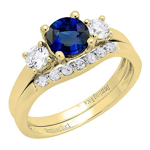 Dazzlingrock Collection 10K 6 MM Lab Created Blue Sapphire, White Sapphire & Diamond Ladies Ring Set, Yellow Gold, Size 6