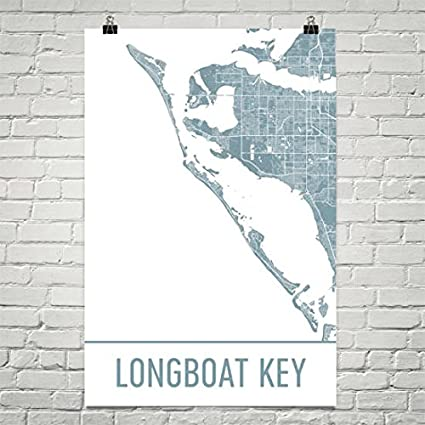 Longboat Key Florida Map.Amazon Com Modern Map Art Longboat Key Map Longboat Key Art