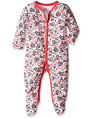 Baby Girls' Heart Print Footie Pajama