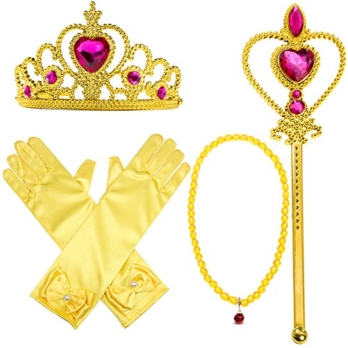 [Yellow Dress Up Party Costume Accessories 7Pieces Gift Set For Princess Belle cosplay: Tiara, Wand and Gloves(Yellow)] (Belle Toddler Gloves)