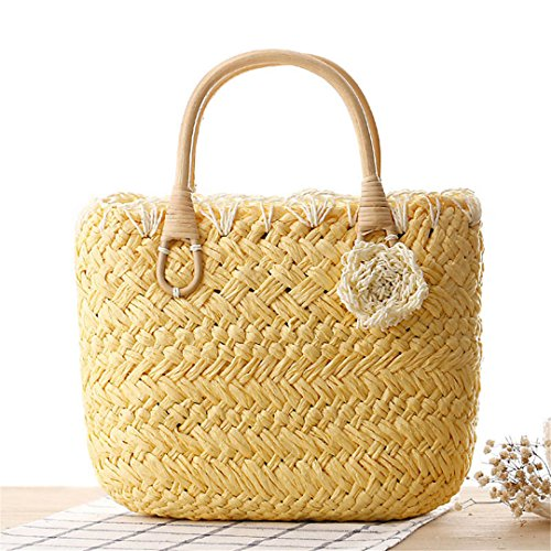 Flor Bolso Mujeres La Beach La Weave Compras Basket Lady De Casuales Femenina Paja Travel Ss3098 De Summer Manualbages De Bolsas Vendimia Yellow White 8tqwEzc4W