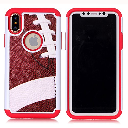 (Iphone X Case,Iphone X Cover - American football Pattern Shock-Absorption Hard PC and Inner Silicone Hybrid Dual Layer Armor Defender Protective Case Cover for Apple iphone X (2017 release))