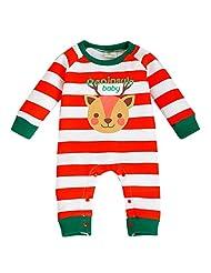Happy Cherry Toddler Christmas Long Sleeve Romper Jumpsuit Newborn Cute Sleepwear Outfits