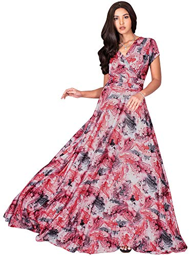 KOH KOH Plus Size Womens Long Flowy Short Cap Sleeve Floor Length Modest Elegant V-Neck Floral Print Casual Spring Summer Sundress Sun Gown Gowns Maxi Dress Dresses, Red & White 3XL 22-24
