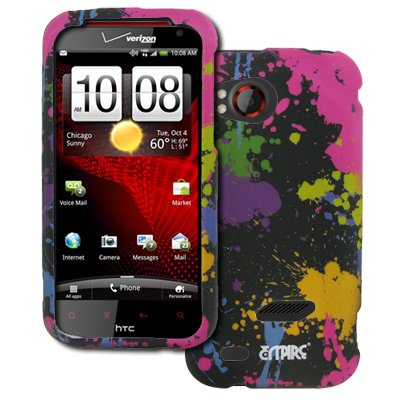 EMPIRE HTC Rezound Paint Splatter Gummierte Design Harte Case Tasche Hülle Cover + Displayschutzfolie Film