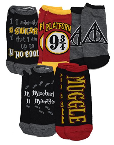 Harry Potter Mischief Managed Marauders Map 5 Pack Ankle Socks (Adult, Platform 9 3/4) from Harry Potter