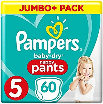 Pampers Baby Dry Pants - Pañales (talla 5 (12-17 kg) - Jumbo+ Pack (60 bragues): Amazon.es: Salud y cuidado personal