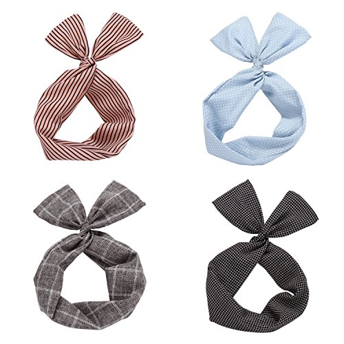 Twist Bow Wired Headbands Scarf Wrap Hair Accessory Hairband by Sea Team (4 Packs) (Multicolored)