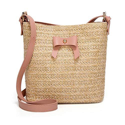Tote Pink Straw Handbags - Turelifes Straw Bag Hand Weave Beach Handbag Summer Crossbody Shoulder Bags Bucket Bow Totes for Women(Pink)