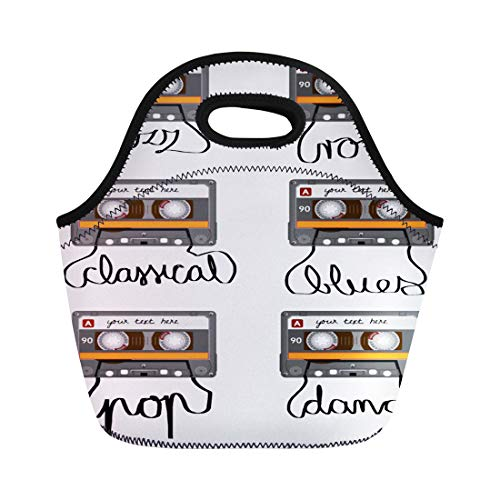 - Semtomn Lunch Tote Bag Retro Cassette Tape Pulled Out to Spell Pop Rock Reusable Neoprene Insulated Thermal Outdoor Picnic Lunchbox for Men Women