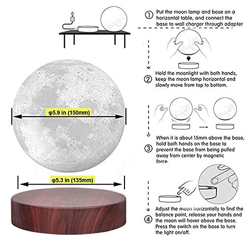 Vgazer Levitating Moon Lamp Floating And Spinning In Air