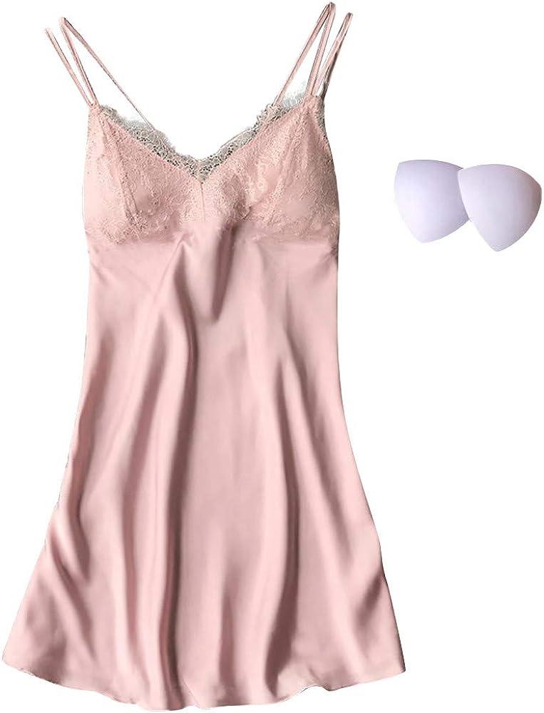 Las mujeres atractivas de la ropa interior ropa de dormir ropa de dormir de encaje vestido de la correa Camisas Slip 1Pcs rosa claro con cuello en V camisones conjunto de ropa