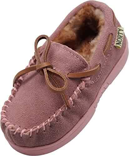 1855a0d5c38 NORTY Little Kids Toddler Genuine Leather Cowhide Suede Slippers - Moccasin  Slip On - Lux