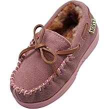 NORTY Toddler/Little Kid/Big Kid Genuine Leather Cowhide Suede Moccasin Slippers