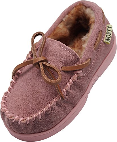 Pink Moccasin Kids - NORTY - Girls Suede Moccasin Slipper, Baby Pink 40113-1MUSLittleKid