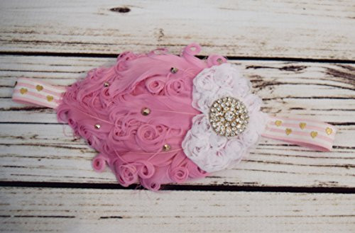 Handcrafted Pink Gold and White Baby Feather Headband - Valentines Headband - White Heart Headband - Fancy Toddler Bows - Tea Party