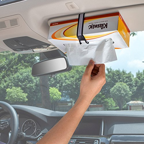 (TFY Car Visor / Headrest Strap Holder For Kleenex Facial Tissues and Other Napkin Paper Boxs (white))