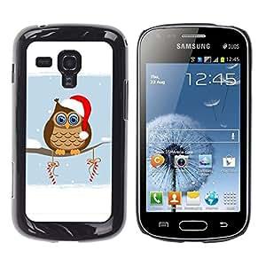 TopCaseStore / la caja del caucho duro de la cubierta de protección de la piel - Owl Winter Elf Hat Red White Drawing Art Candy - Samsung Galaxy S Duos S7562