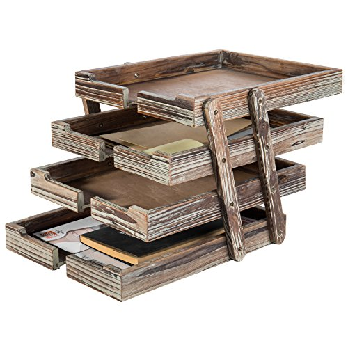 4-Tier Distressed Brown Wood Desktop Document Paper Organizer Collapsible & Expandable Stacking Trays by MyGift (Image #2)