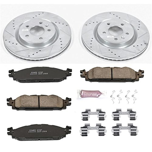 (Power Stop K5583 Front Brake Kit with Drilled/Slotted Brake Rotors and Z23 Evolution Ceramic Brake Pads)