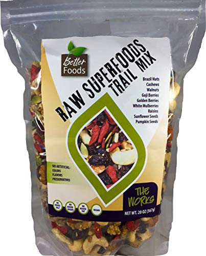 - Raw Superfoods Trail Mix - The Works (Goji Berries, Golden Berries, Mulberries, Raisins, Brazil Nuts, Cashews, Walnuts, Pumpkin and Sunflower Seeds)