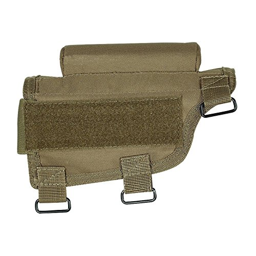 Tactical Buttstock Shotgun Rifle Ammo Shell Holder Cheek Rest Pouch for Outdoor Hunting Shooting