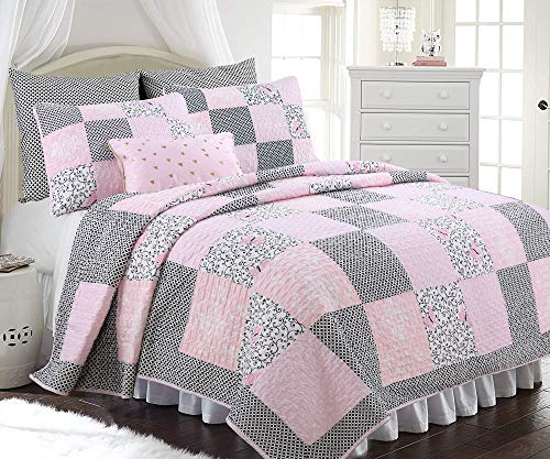 (Cozy Line Home Fashions Vivinna Baby Pink White Black Grid Flower Pattern Patchwork Cotton Bedding Quilt Set Coverlet Bedspreads for Kids Girls Women (Pink/Black, Full/Queen - 3 Piece))