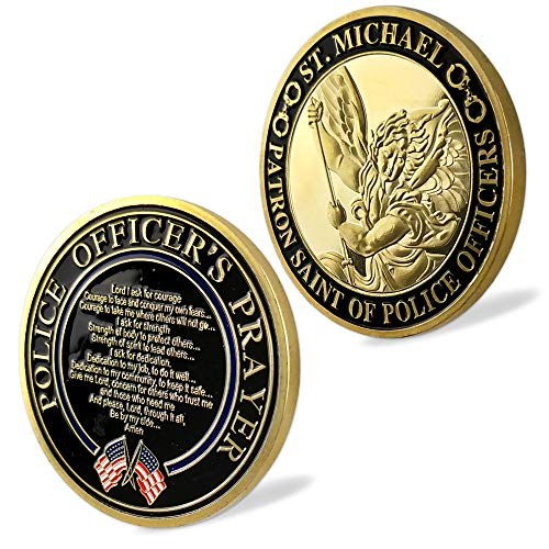 Color Challenge Coin - St. Michael Patron Saint of Police Officers Prayer Law Enforcement US Military Challenge Coin